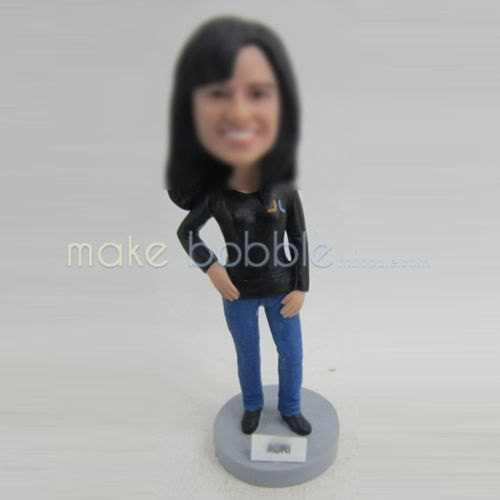 Personalized custom female in office bobbleheads