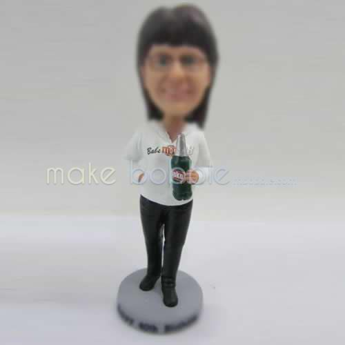 Professional custom white Tshirt female bobbleheads
