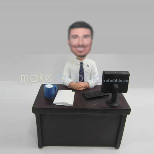 Professional custom man in office bobble head