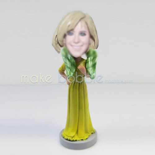 Professional custom yellow dress bobble heads