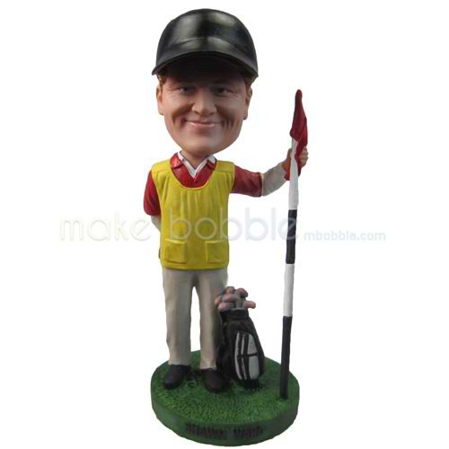 personalized custom golfer in hat with golf clubs bobbleheads