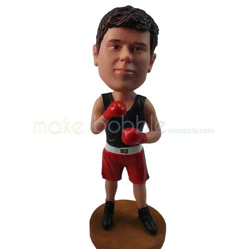 personalized custom boxer wearing singlet and gloves bobbleheads