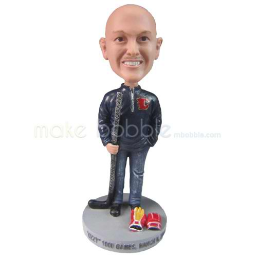 personalized custom man with hockey bat and gloves bobbleheads