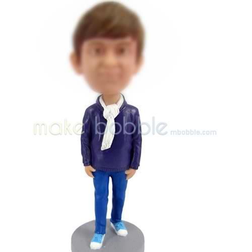 personalize bobbleheads of Purple sweater