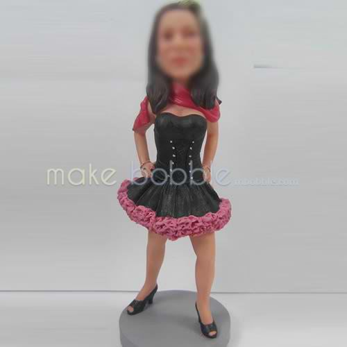 Custom black dress bobble heads
