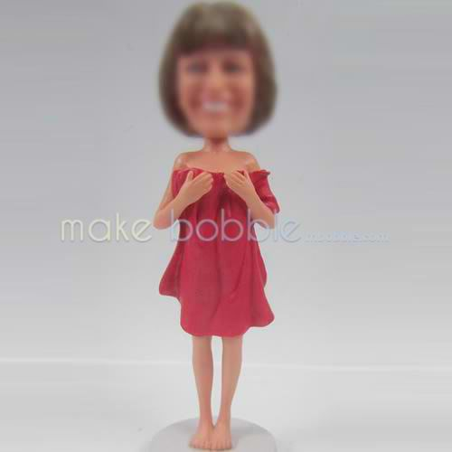 custom girl with Bath towel bobble heads