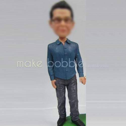 man in shirt bobble heads