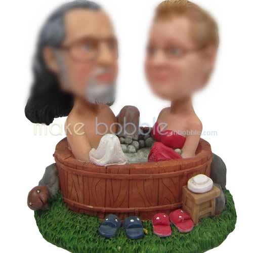 Personalized bobbleheads of Couple sauna