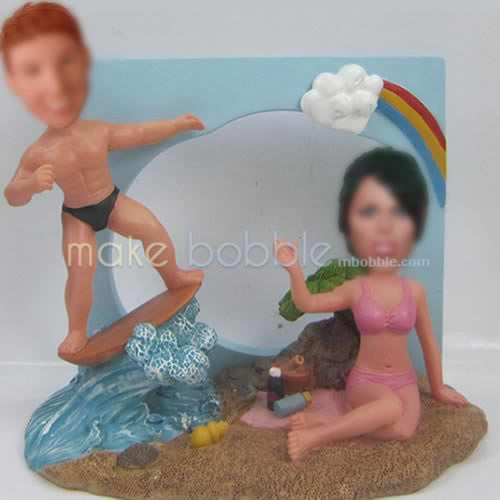 personalized Custom bobbleheads of Couple Surf