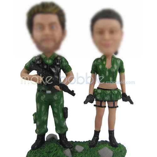 Custom bobbleheads of  Camouflage couple
