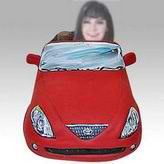 Personalized custom woman and red car bobbleheads
