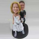 Personalized custom Hockey fans wedding cake bobbleheads