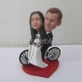 Personalized custom bike wedding cake bobbleheads