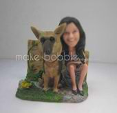 Personalized custom female with dog bobble heads