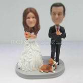 Personalized custom wedding cake with dog bobbleheads