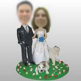 Couple bobble head dolls With Two Pets