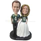 Personalized wedding cake topper in jersey bobbleheads