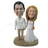 Bride and bridegroom wedding bobbleheads