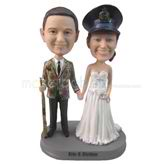 Custom police officer couple  bobbleheads with gun and handcuff