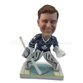 Ice hockey player bobble heads doll with blue jersey