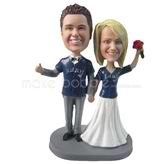 Couple in T-shirts wedding bobbleheads