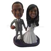 Sports style personalized wedding bobble head doll