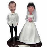 Personalized smile and happy just married couple bobblehead
