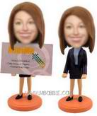 Personalized custom business card holder bobblehead