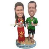 Wife in red dress and husband in green T-shirt custom bobbleheads