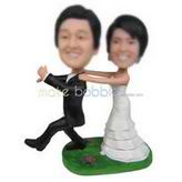 Funny groom in black suit and funny bride in white wedding dress custom bobbleheads