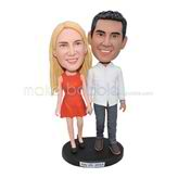 Customized handmade romantic couple bobblehead for Memorial Day