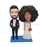 Personalized funny curly hair wedding bobblehead