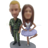 Create  personalised custom Ballet woman with soldiers bobbleheads