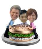 Custom  family  bobble heads with hamburger