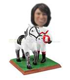 Personalized woman horse bobble head dolls