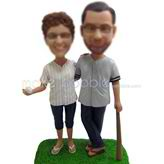Custom bobbleheads Baseball couple