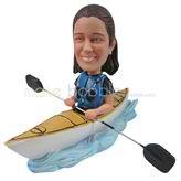 Custom woman  bobbleheads  sitting in the boat