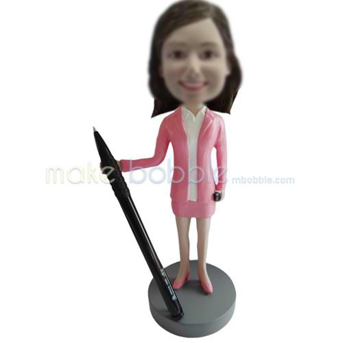 Personalized custom office lady bobbleheads