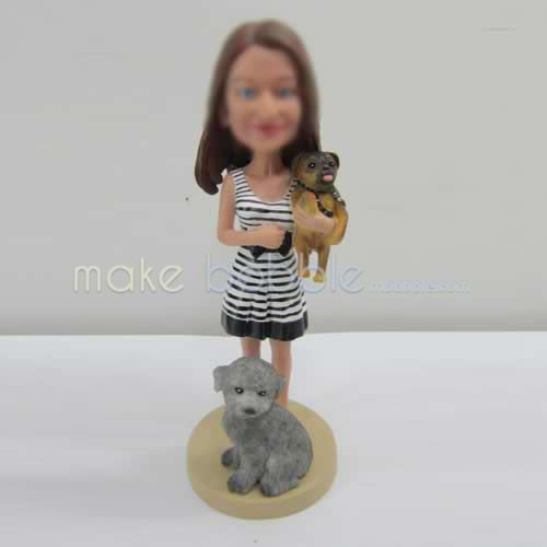 Personalized custom girl with pets bobbleheads
