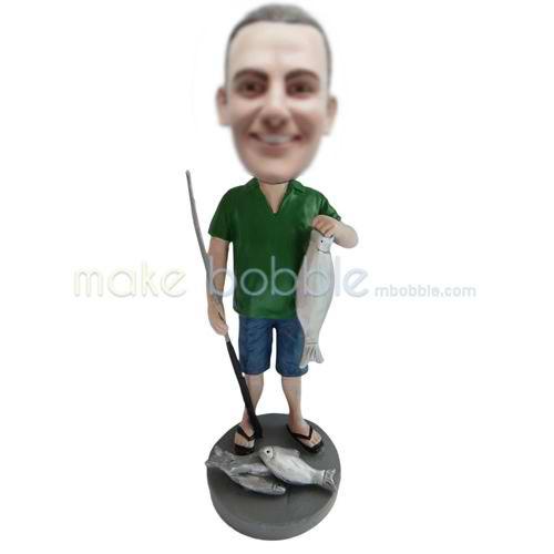 Custom bobbleheads dolls man fishing