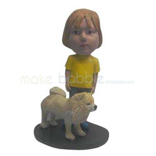Custom Kids bobbleheads with his dog bobbleheads