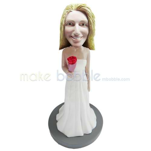 Personalized custom Bride bobblehead doll