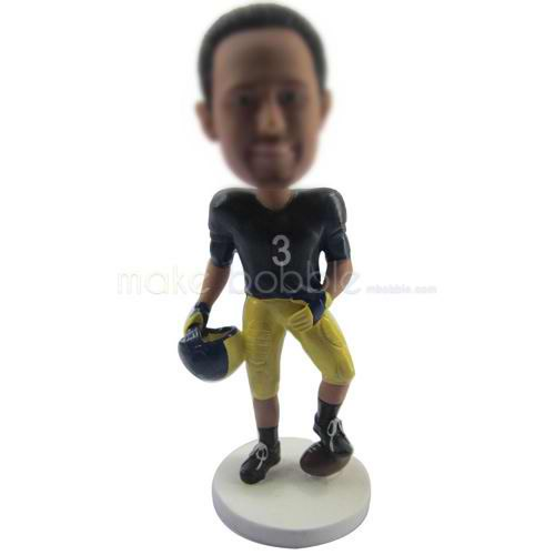 custom NFL football player bobbleheads with football and helmet