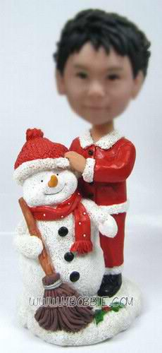 personalized christmas snowman with little boy bobblehead