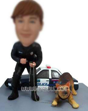 personalized custom cop with his pet dog bobblehead