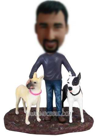 personalized custom man with his two pet dogs bobblehead