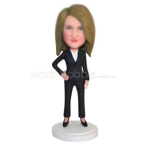office lady in black suit custom bobbleheads
