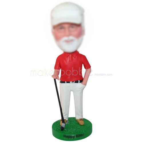 grandfather in red T-shirt playing golf custom bobbleheads