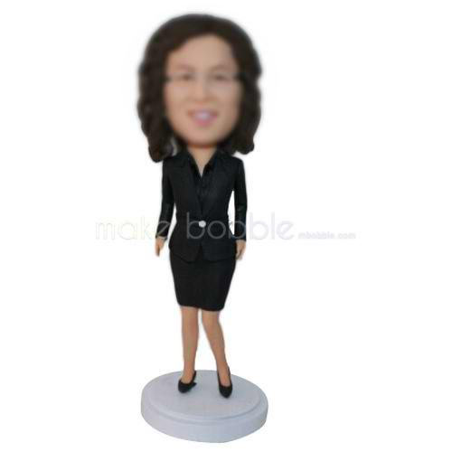 curly hair office lady in black suit custom bobbleheads