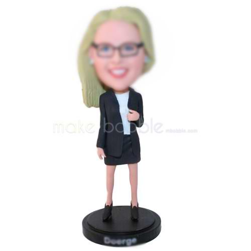 fashion office lady in black suit custom bobbleheads